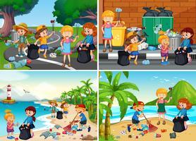 A Set of Responsible Volunteer Kids