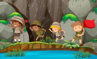 Group of boy scout in nature