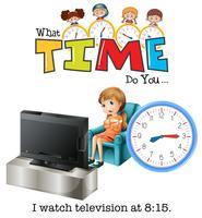 Uma menina wathing televisão às 8:15