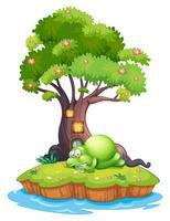 Een monster dat onder de boomhut op het eiland slaapt