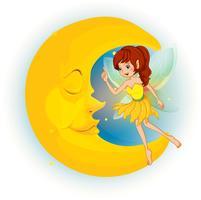 Uma fada com um vestido amarelo ao lado de uma lua adormecida