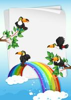 Paper design with toucans flying in sky