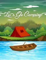 Terreno de acampamento com tenda e barco