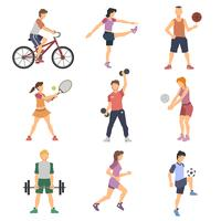 Sport People Flat Icons Set vector