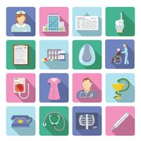 Conjunto plano de iconos de enfermera