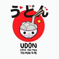 schattige ramen noodle vector, udon vector
