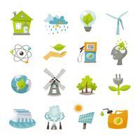 Iconos de energía ecológica plana