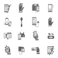 Digitale gezondheid Icons Set