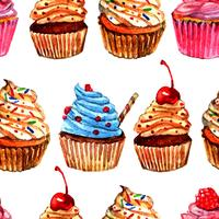Cupcakes seamless pattern design