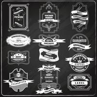 Retro emblems set chalk blackboard