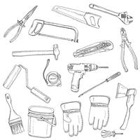 House renovation tools set black outline
