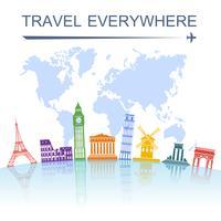 Impresión del cartel del concepto del hito del viaje