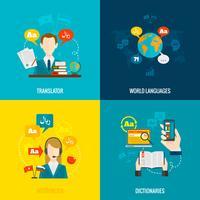 Icone piatte di traduzione e dizionario