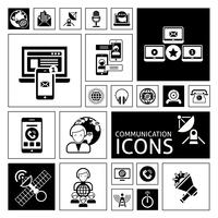 Kommunikations-Icons schwarz