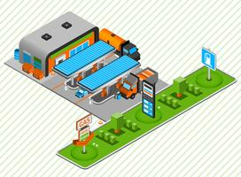 Gas diesel fuel station isometric composition