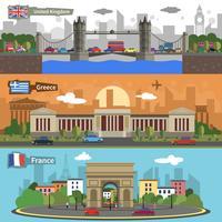 Historiska landmärken skyline banners set
