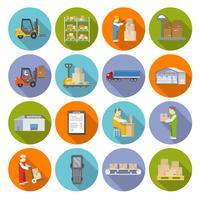 Conjunto de ícones de armazém plano