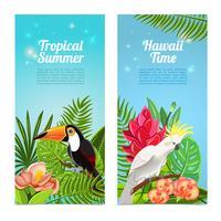 Set di banner verticale di uccelli tropicali dell'isola
