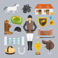 iconos de jockey planos vector