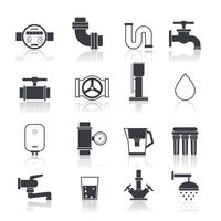 Water Supply Icons Black