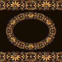 Empty round frame and borders. Greek traditional stylization. In gold color isolated on dark background.