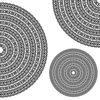 Monochromatic ethnic textures. Round whole, half and quarter ornamental vector shapes