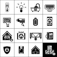 Casa inteligente ícones preto