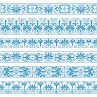 Antique borders in blue color on the white background.