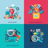 Seo Marketing Flat Icons