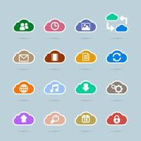 Set of cloud technology icons, contrast color