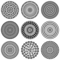 Textures rondes ethniques monochromes.