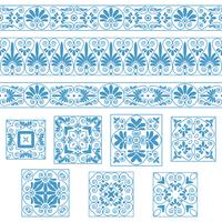 Set collections of old Greek ornaments. Antique borders and tiles in white and blue colors