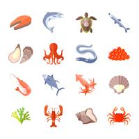 Icona di cibo di mare piatta