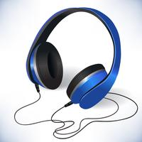 Blue isolated headphones emblem vector