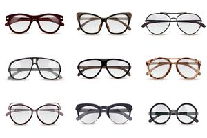 Realistic Eyeglasses Set vector
