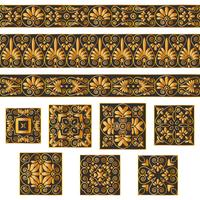 Set collections of old Greek ornaments. Antique borders and tiles in black and white colors isolated on gray background.
