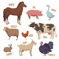 Conjunto de animais de fazenda