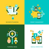 Affärsanalyskoncept 4 platta ikoner