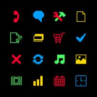 Colored pixel icons set for online shopping