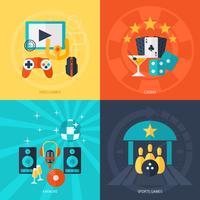 Set di icone piane di intrattenimento