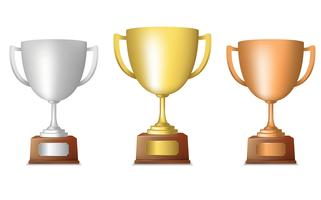 Golden silver bronze trophy set vector