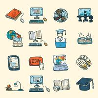 Online Education Icons Sketch
