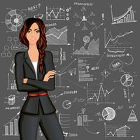 Business woman doodle background