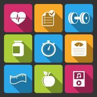 Hälsosam livsstil ikoner för fitnessapp