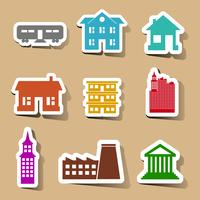 Building icons set on color stickers