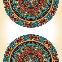 Ethnic traditional colorful bright half round pattern on beige background