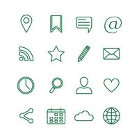 Kontur sociala medier ikoner uppsättning