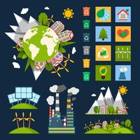 Conjunto de símbolos de ecologia vetor