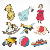 Toys colored sketch icons set