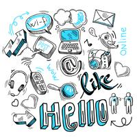 Doodle sociala medier tecken